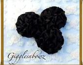 Satin Flowers-Set of 3 Beautiful BLACK Satin Rosettes Puff Flowers- DIY Supplies
