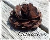Beautiful single DARK BROWN Satin and Tulle Puff Flower