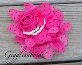 New Chiffon Rolled Rose with layers of Ruffles and Pearls- HOT PINK w BLACK Polka Dots