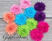 Set of TWELVE Shabby Frayed Vintage look Chiffon Rosette Flowers- BRIGHT COLLECTION