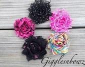 New Petite Size-Set of FIVE Shabby Frayed Vintage look Chiffon Rosette Flowers-Polka Dots, Swirl, Tie Dye