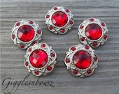 Sale!! Rhinestone Buttons- 5 Pc Vintage Style Red 21mm - Hair Bow Centers, Headband Supplies, Diy Supplies, Flower Center