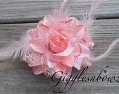 Feather Flower- Peach Feather, Glitter, Lace Flower- Millinery Feather Flower- DIY Flower for Fascinator and Crafts- 4 Inch Flower