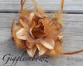 Feather Flower- Golden Tan Feather, Glitter, Lace Flower- Millinery Flower- DIY Flower for Fascinator and Crafts- 4 Inch Flower