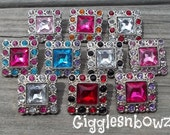Set of TEN Two ToNE SQUARE Acrylic Rhinestone Buttons 28mm- Colorful Collection one of each