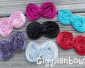 10 Glitter Bows- Shabby Bows- Mini Size 2 inch- Headband Supplies- Fabric Bows- Chiffon Flowers- Diy Supplies- Choose your Colors
