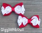 CHRiSTMaS CoLLeCTiON- Red/White Satin ROSeTTe RiBBoN BoWs- Petite 3 inch