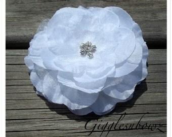 "3.25"" Chiffon Rhinestone and Tulle Flower- Fabric Flower- Wedding Flower- White Flower- DIY Flowers- Rhinestone Flower Head"