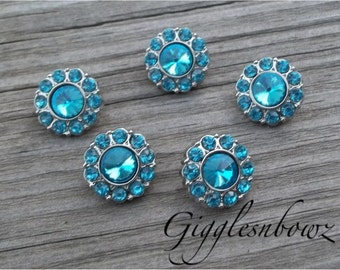 CHRiSTMaS in JuLY SaLE- Brand New Set of FIVE Tiny Acrylic Rhinestone Buttons PETITE Size-Turquoise 15mm