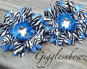 Set of TWO Rhinestone Centered Silk Gerbera Daisy Flowers BLUE Zebra Layered