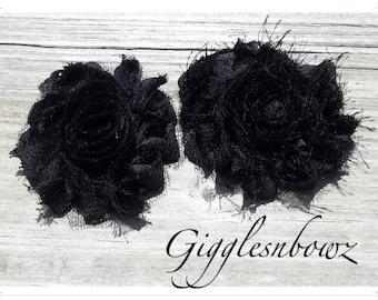 Set of TWO Shabby Frayed Vintage look Chiffon Rosette Flowers- Black