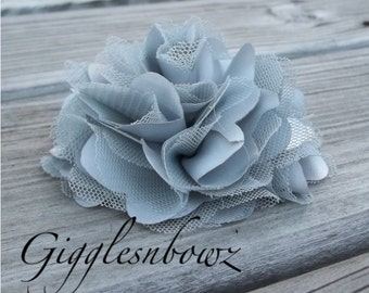 Beautiful single SILVER GREY Satin and Tulle Puff Flower