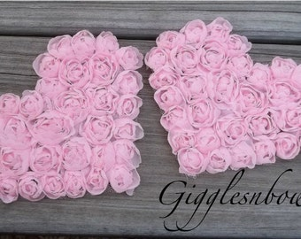 Valentines Hearts- Set of 2 Beautiful Shabby Chic Chiffon Large HEART Appliques 4 inch size- PINK