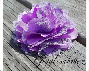 Beautiful single LAVENDER Satin and Tulle Puff Flower