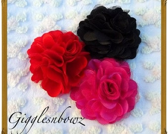 NEW Set of THREE Beautiful Satin and Tulle Puff Flowers
