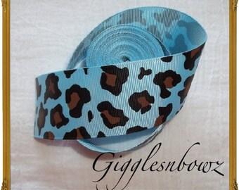 NEW 5 yards of 1.5 inch Blue LEOPARD CHEETAH Print Grosgrain Ribbon