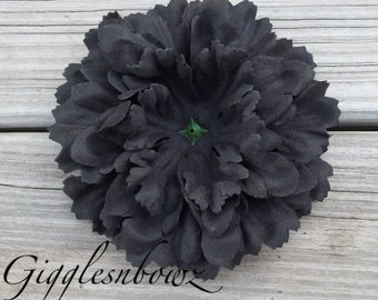 Single Soft Petal Silk Peony Flower-Gorgeous BLACK 5 inch blossom