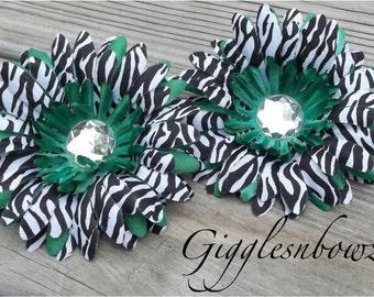 Set of TWO Rhinestone Centered Silk Gerbera Daisy Flowers GREEN Zebra Layered
