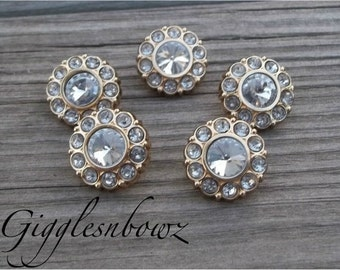 Brand New Set of FIVE Acrylic Rhinestone Buttons NEW Size-18MM Clear-Goldtone