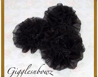 3pc Chiffon Rolled Rosettes- BLACK Chiffon Rose Puff Flowers-Petti Puffs- Diy Supplies- Flower Heads
