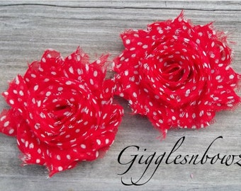 Set of TWO Shabby Frayed Vintage look Chiffon Rosette Flowers- Red with White POLKA DOTS