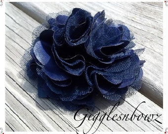 Beautiful single NAVY BLUE Satin and Tulle Puff Flower