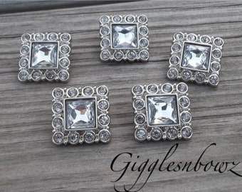 PETITE Size- Set of Five TiNY SQUARE Acrylic Rhinestone Buttons CLEAR 15mm