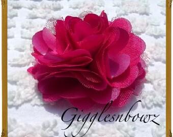 "Satin Tulle Puff Flower- Shocking Pink- Headband Flower- Headband Supplies- Diy Headband- Hair Accessories- Satin Flowers- 3"" Fabric Flower"