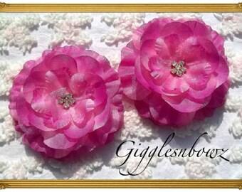 Set of 2 Gorgeous ROSE PINK Ruffled Rhinestone Flowers