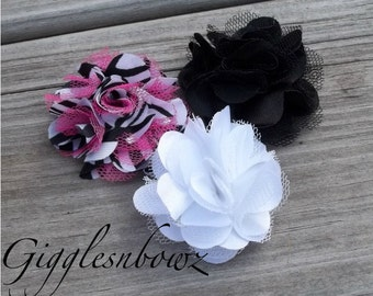 Set of THREE Beautiful PETITE Satin and Tulle Puff Flowers-NEW Tiny Size