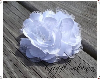Beautiful single PURE WHITE Satin and Tulle Puff Flower