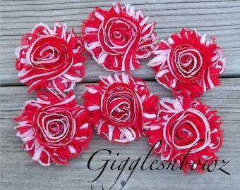 Set of SIX Shabby Frayed Vintage look Chiffon Rosette Flowers- Candycane Stripe