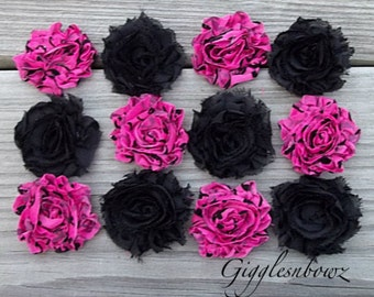 New Petite Size-TWELVE Shabby Frayed Vintage look Chiffon Rosette Flowers-Shocking Pink Swirland Black