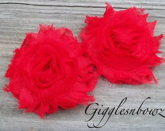 Set of TWO Shabby Frayed Vintage look Chiffon Rosette Flowers- RED