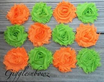 Set of TWELVE Shabby Frayed Vintage look Chiffon Rosette Flowers- Orange and Lime Green
