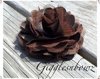 Beautiful single DARK BROWN Satin and Tulle Puff Flower