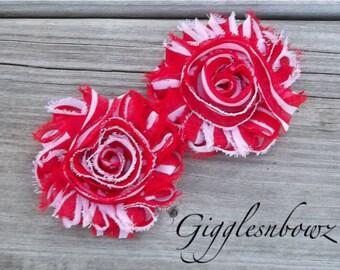 Set of TWO Shabby Frayed Vintage look Chiffon Rosette Flowers- Candycane Stripe