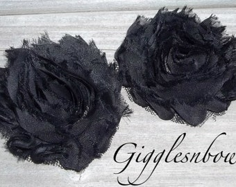 Set of TWO Shabby Frayed Vintage look Chiffon Rosette Flowers- BLACK