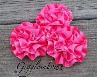 Satin Flowers- 3pc Beautiful HOT PINK Satin Rosettes Puff Flowers- Diy Supplies- Headband Flowers- Fabric Flowers- Crafting Flowers