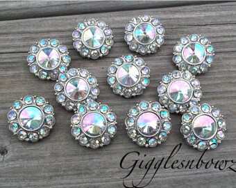 Rhinestone Buttons- 25mm AB Iridescent Plastic Acrylic Rhinestone Buttons- 10pc Headband Supplies- Diy Wedding- Brooch Bouquet