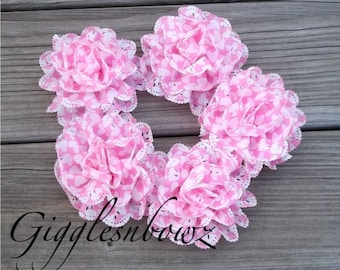 New Item- 5 Piece Set Chiffon Eyelet Fabric Rosette Puff Flower 3.5 inch- Pink with White Hearts