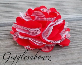 SWeETHeART single RED and WHITE Satin and Tulle Puff Flower