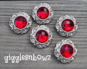 VaLeNTiNE'S DaY Set of 5 Vintage Style Red and Light Pink Rhinestone Buttons 30mm