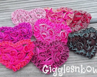 Valentine Hearts- Shabby Heart Trim- Rosette Hearts- Tulle Heart Appliques- Fabric Hearts- Diy Valentine- 2.5 inch Hearts- Petite Hearts