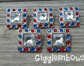 5pc Sale Rhinestone Buttons- 4th of JuLY- Acrylic Rhinestone Buttons- 25mm Headband Supplies-Diy Supplies- Sewing Button- Diy Baby Headband