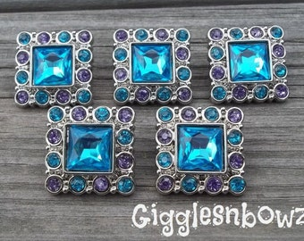 5pc Sale Rhinestone Buttons- Turquoise/Grape Rhinestone Buttons- 25mm Headband Supplies-Diy Supplies- Sewing Button- Diy Baby Headband