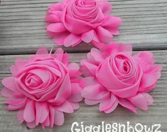 "Chiffon Rosette w Ruffles- Chiffon Flowers- 3"" Headband Flowers- Hot Pink Chiffon Roses- Diy Supplies- Headband Supplies- Fabric Flowers"