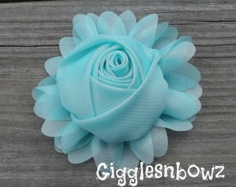 New to Shop- 3 Inch Chiffon Rolled Rose with Ruffles- Aqua