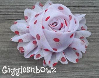 New to Shop- 3 Inch Chiffon Rolled Rose with Ruffles- White with Red Dots