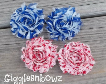 Set of FOUR Shabby Frayed Vintage look Chiffon Rosette Flowers- Stars and Stripes